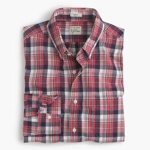 New J Crew Secret Wash Slim Shirt Plaid Button Up